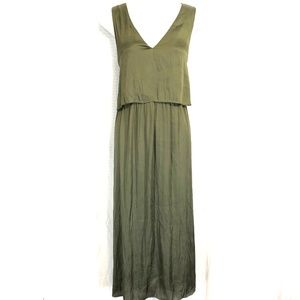 H&M Olive Satin Maxi Style Sleeveless Dress ~sz 14